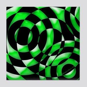 Modern Art Green and Black Tile Coaster
