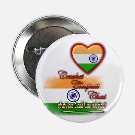 """Cricket, chapati, chai - 2.25"""" Button"""