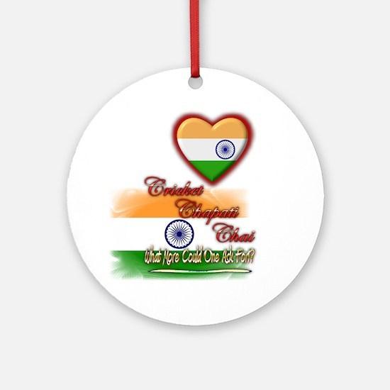 Cricket, chapati, chai - Ornament (Round)