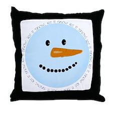 Blue Snowman Throw Pillow