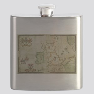 Vintage Map of The British Isles (1590) Flask