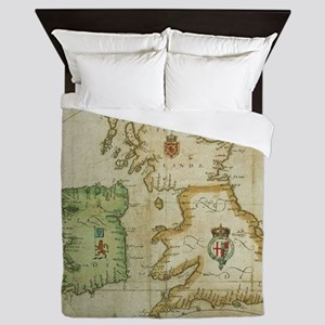 Vintage Map of The British Isles (1590 Queen Duvet