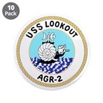 """USS Lookout (AGR 2) 3.5"""" Button (10 pack)"""