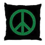 Green Peace Sign Throw Pillow