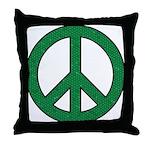 Green Mosaic Peace Sign Throw Pillow