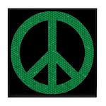 Green Peace Sign Tile Coaster