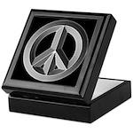 Silver Peace Sign Keepsake Box