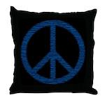 Blue Peace Sign Throw Pillow