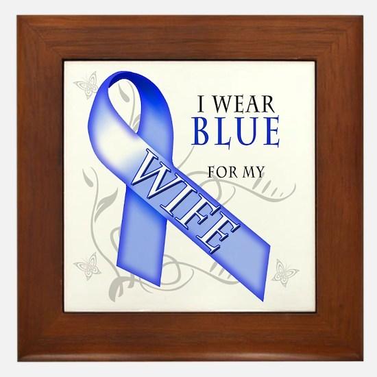 I Wear Blue for my Wife Framed Tile