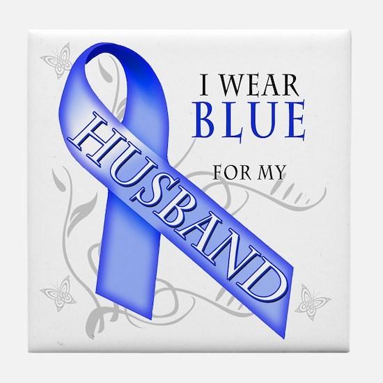 I Wear Blue for my Husband Tile Coaster