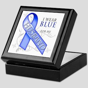 I Wear Blue for my Husband Keepsake Box