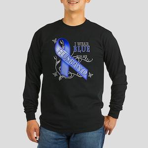I Wear Blue for my Husband Long Sleeve Dark T-Shir