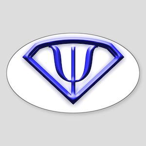 Superhero Psychologist Blue Oval Sticker