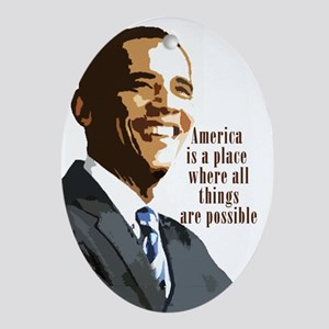 Barack Obama Oval Ornament