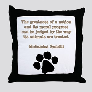 Gandhi Animal Quote Throw Pillow
