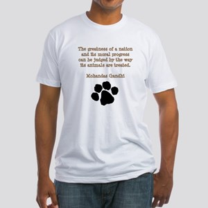 Gandhi Animal Quote Fitted T-Shirt