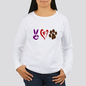 Peace, Love, Pets Symbols Women's Long Sleeve T-Sh