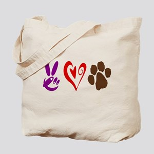 Peace, Love, Pets Symbols Tote Bag