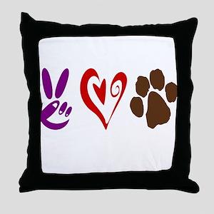 Peace, Love, Pets Symbols Throw Pillow