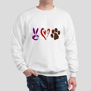 Peace, Love, Pets Symbols Sweatshirt