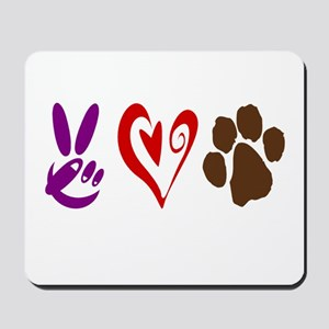 Peace, Love, Pets Symbols Mousepad