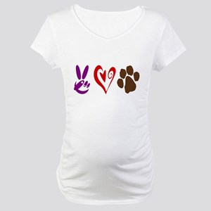 Peace, Love, Pets Symbols Maternity T-Shirt