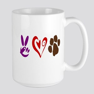 Peace, Love, Pets Symbols Large Mug