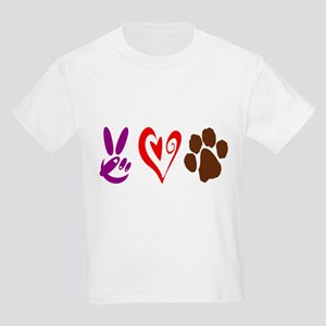 Peace, Love, Pets Symbols Kids Light T-Shirt