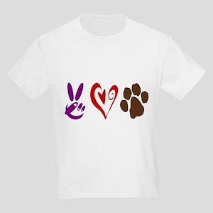 Peace, Love, Pets Symbols Kids Light T-Shirt