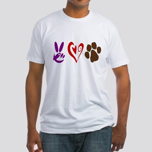 Peace, Love, Pets Symbols Fitted T-Shirt