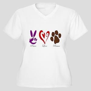 Peace, Love, Rescue Women's Plus Size V-Neck T-Shi