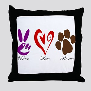 Peace, Love, Rescue Throw Pillow