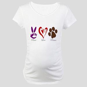 Peace, Love, Rescue Maternity T-Shirt