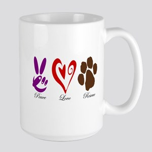 Peace, Love, Rescue Large Mug