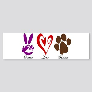 Peace, Love, Rescue Sticker (Bumper)
