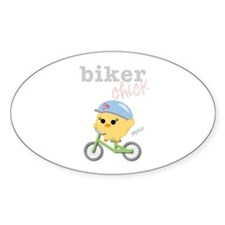 Biker Chick Oval Sticker