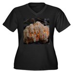 Coral Fungus Women's Plus Size V-Neck Dark T-Shirt