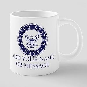 PERSONALIZED US Navy Blue W 20 oz Ceramic Mega Mug