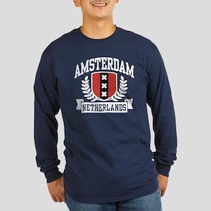 Amsterdam Netherlands Long Sleeve Dark T-Shirt