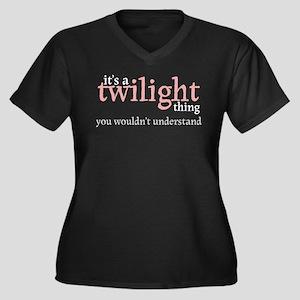 Twilight Thing Women's Plus Size V-Neck Dark T-Shi