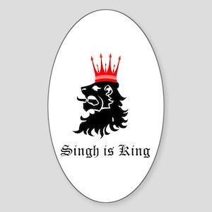 Singh is King Oval Sticker