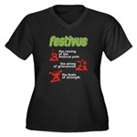 FESTIVUS™! Women's Plus Size V-Neck Dark T-Shirt