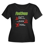 FESTIVUS™! Women's Plus Size Scoop Neck Dark T-Shi