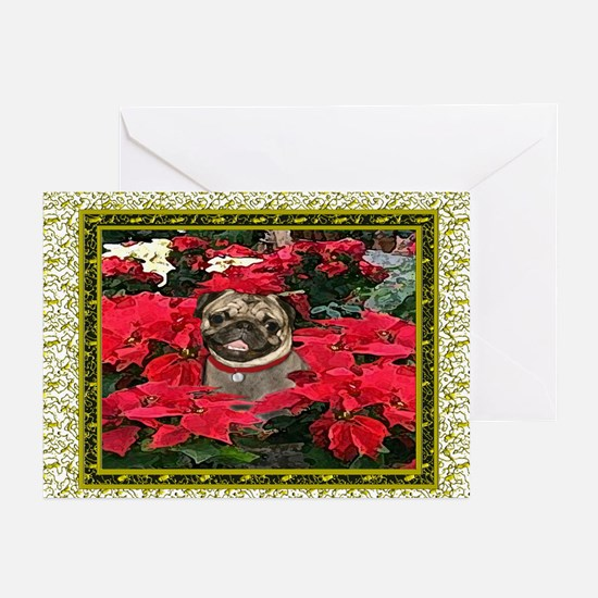 Pug Gold Poinsettia Christmas Card (6)
