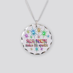 Salsa Dancing Sparkles Necklace Circle Charm