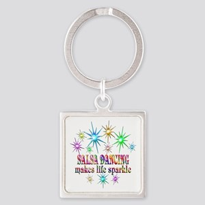 Salsa Dancing Sparkles Square Keychain