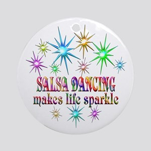 Salsa Dancing Sparkles Round Ornament