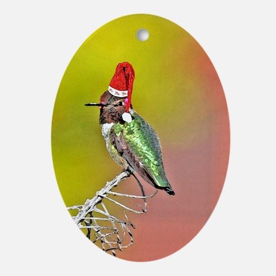 Ho Ho Ho Hummingbird III Oval Ornament