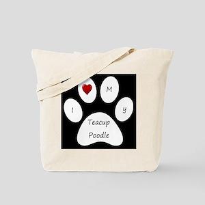 Black I Love My Teacup Poodle Tote Bag
