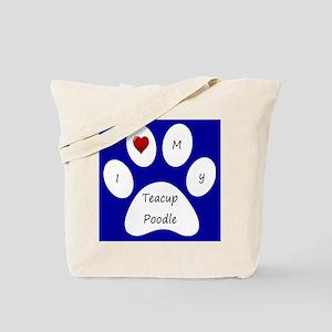 Blue I Love My Teacup Poodle Tote Bag
